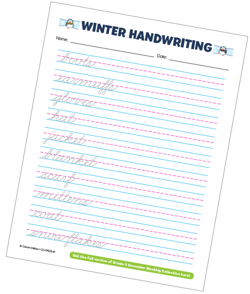 Winter Handwriting Grade 5 Free Printable