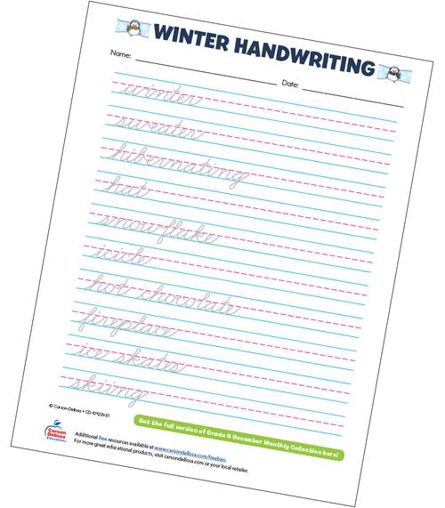 Winter Handwriting Grade 4 Free Printable