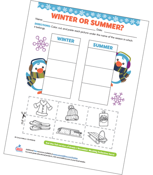 Winter or Summer? Free Printable Sample Image
