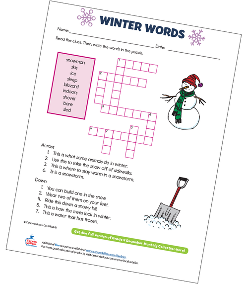 Winter Words Free Printable Sample Image