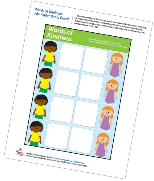 Words of Kindness File Folder Game Free Printable