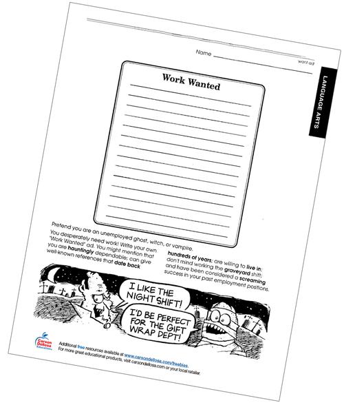 Work Wanted Free Printable Worksheet
