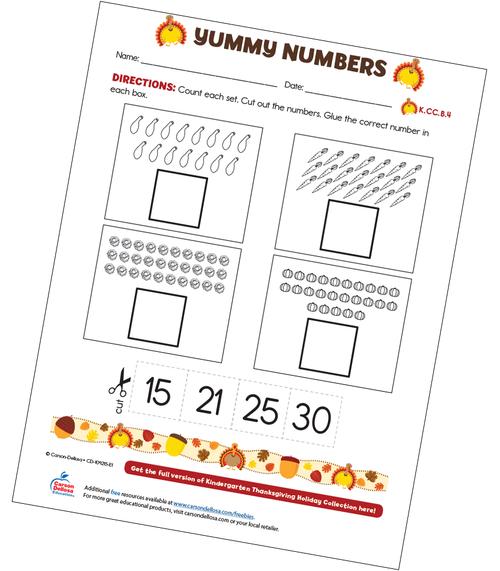 Yummy Numbers Free Printable Sample Image