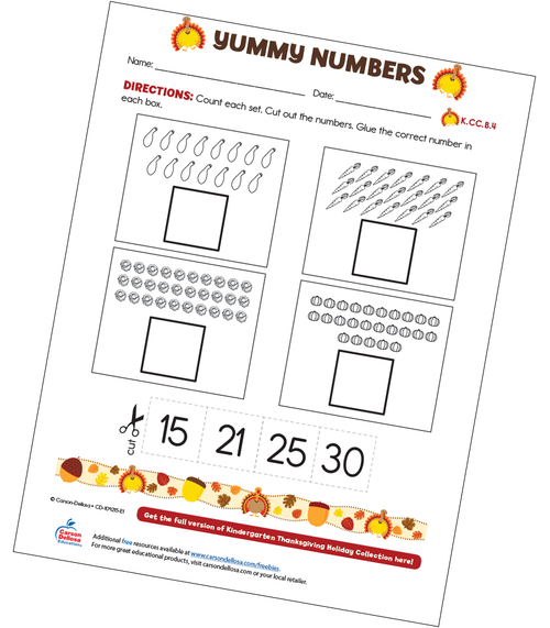 Yummy Numbers Free Printable Worksheet