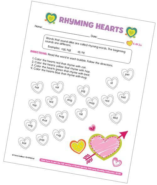 Rhyming Hearts Free Printable
