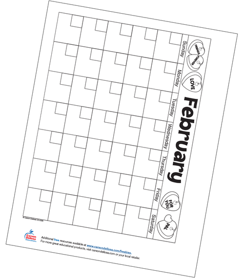 February Calendar Free Printable