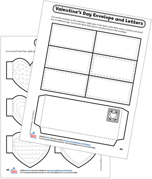 Valentine's Day Envelope and Letters Interactive Notebook Free Printable