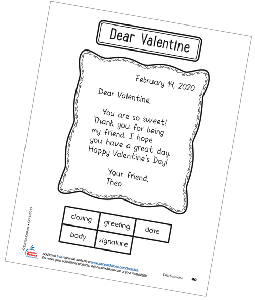 Dear Valentine Interactive Notebook Free Printable