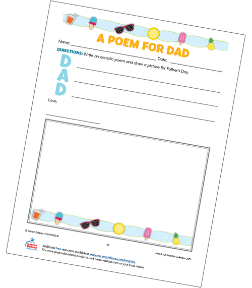 Acrostic Father's Day Poem Free Printable