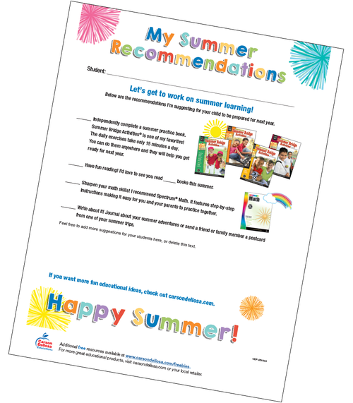 Summer Learning Recommendations Checklist Free Printable