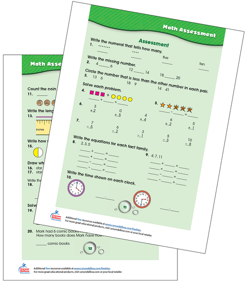 Math Assessment Grades K-1 Free Printable Sample Image