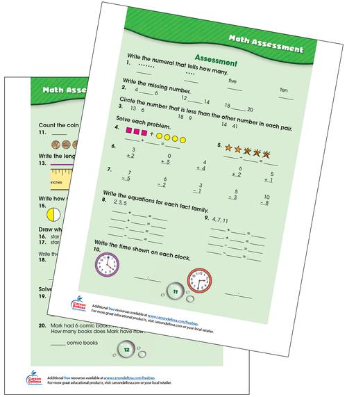 Math Assessment Grades K-1 Free Printable Sample Image