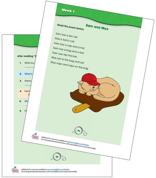 Week 1 Grades K-1 Free Printable Sample Image