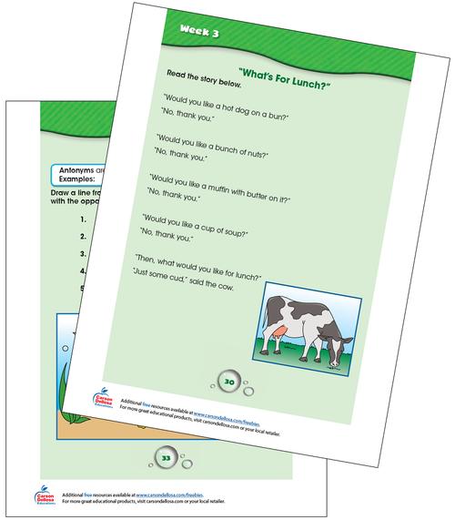 Week 3 Grades K-1 Free Printable Sample Image