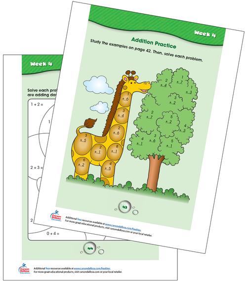 Week 4 Grades K-1 Free Printable Sample Image