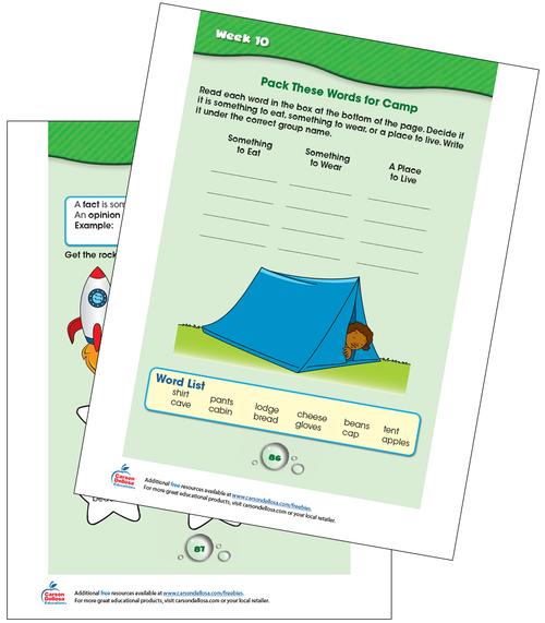 Week 10 Grades K-1 Free Printable Sample Image