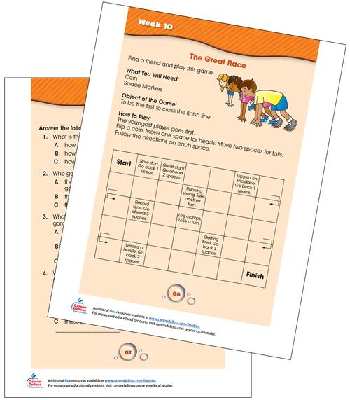 Week 10 Grades 1-2 Free Printable Sample Image