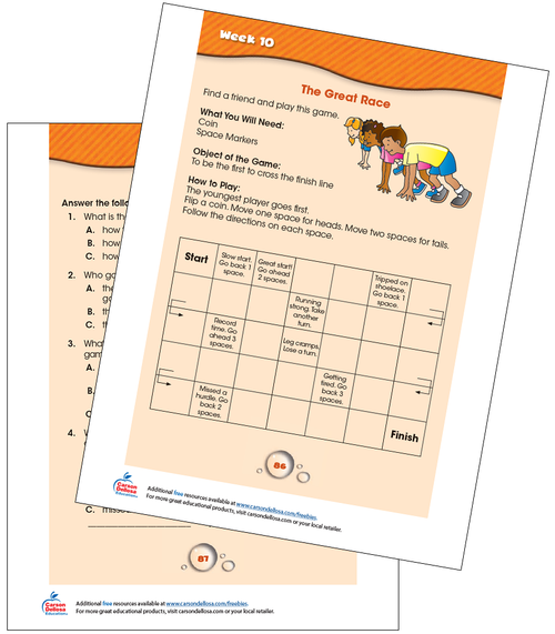 Week 10 Grades 1-2 Free Printable Sample Image