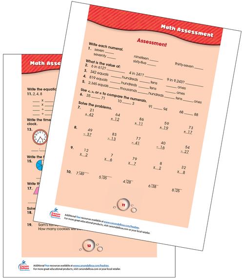 Math Assessment Grades 2-3 Free Printable Sample Image