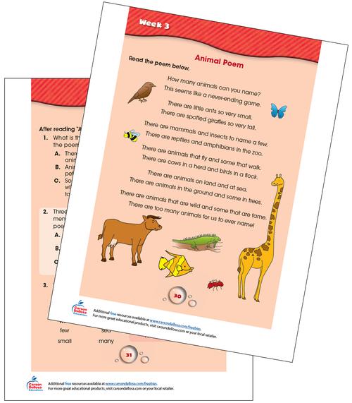Week 3 Grades 2-3 Free Printable Sample Image