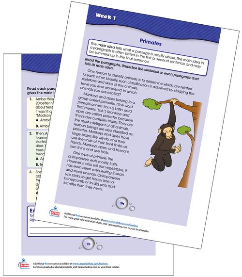 Week 1 Grades 3-4 Free Printable Sample Image