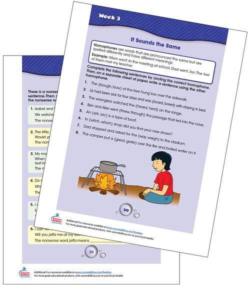 Week 3 Grades 3-4 Free Printable Sample Image
