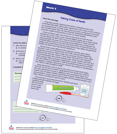 Week 5 Grades 3-4 Free Printable Sample Image
