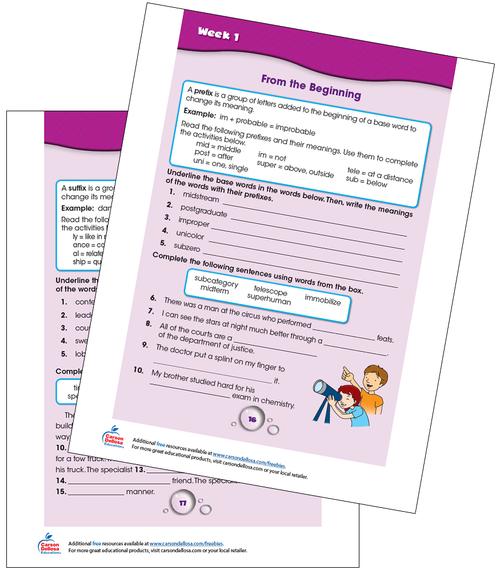 Week 1 Grades 4-5 Free Printable Sample Image