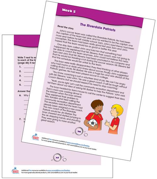Week 5 Grades 4-5 Free Printable Sample Image