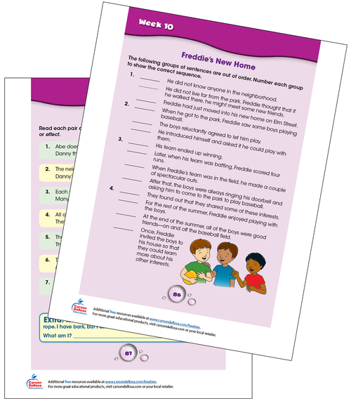 Week 10 Grades 4-5 Free Printable Sample Image