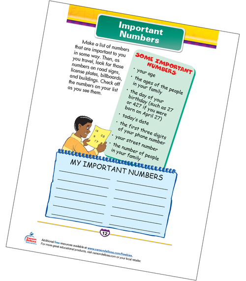 Important Numbers Free Printable Sample Image