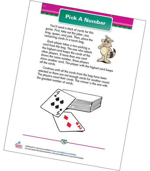 Pick A Number Free Printable Sample Image