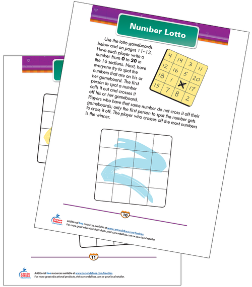 Number Lotto Free Printable Sample Image