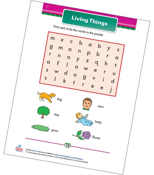 Living Things Free Printable Sample Image