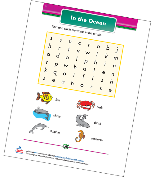 In the Ocean Free Printable Sample Image