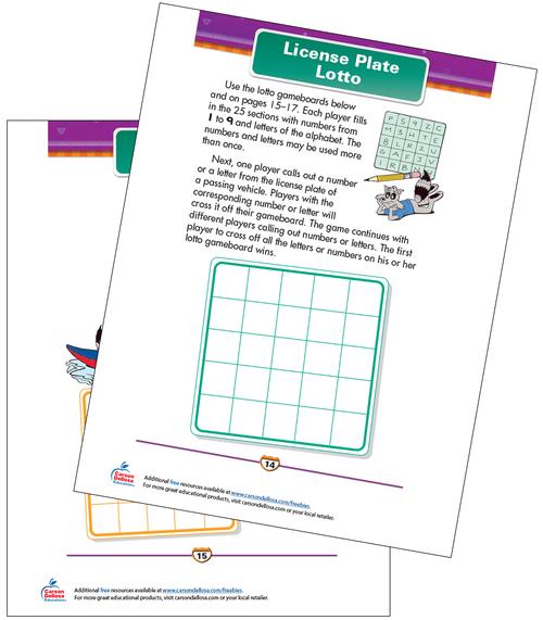 License Plate Lotto Free Printable Sample Image