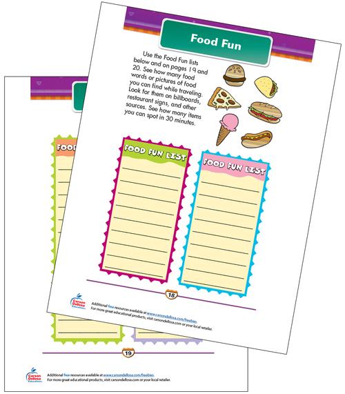 Food Fun Free Printable Sample Image