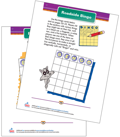 Roadside Bingo Free Printable Sample Image