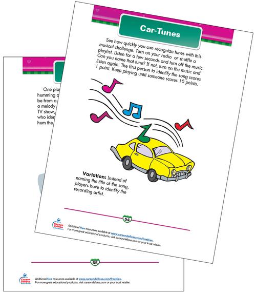 Car-Tunes Free Printable Sample Image