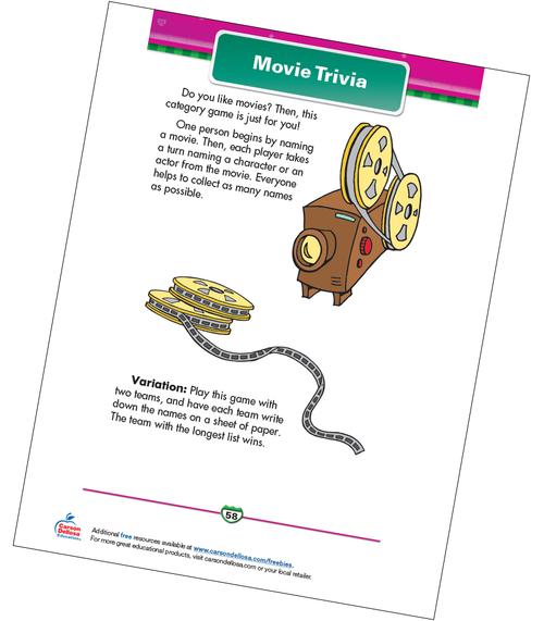 Movie Trivia Free Printable Sample Image