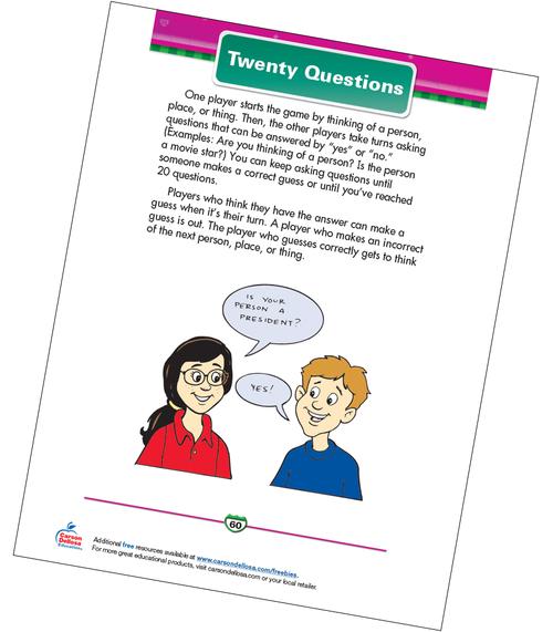 Twenty Questions Free Printable Sample Image