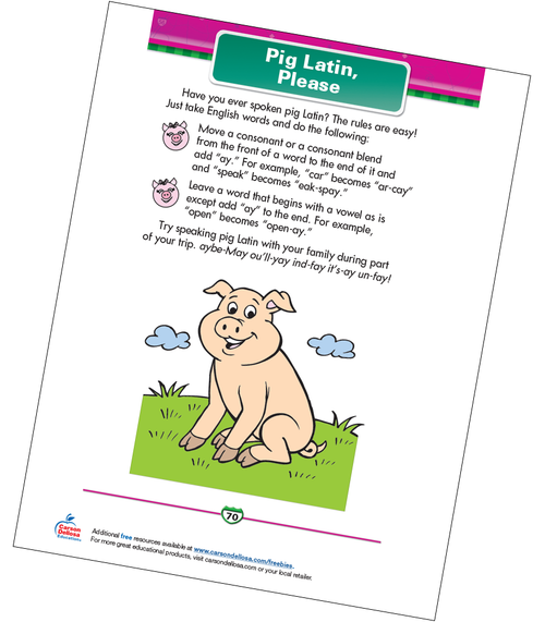 Pig Latin, Please Free Printable Sample Image