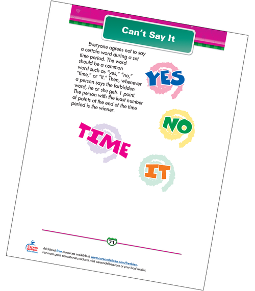 Can't Say It Free Printable Sample Image