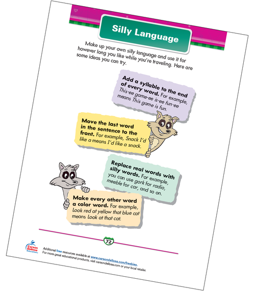 Silly Language Free Printable Sample Image