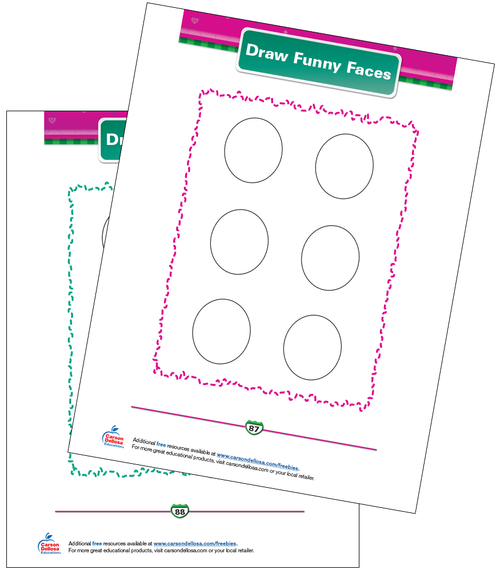Draw Funny Faces Free Printable Sample Image