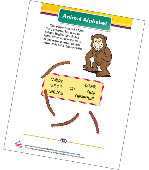 Animal Alphabet Free Printable Sample Image