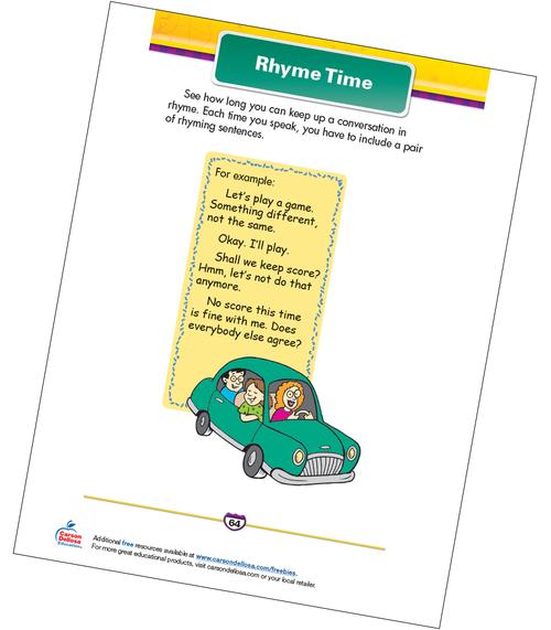 Rhyme Time Free Printable Sample Image