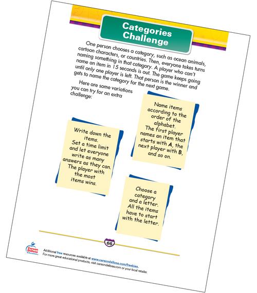 Categories Challenge Free Printable Sample Image