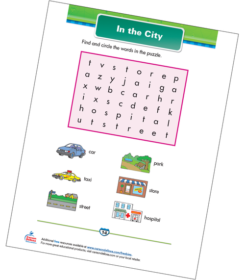 In the City Free Printable Sample Image