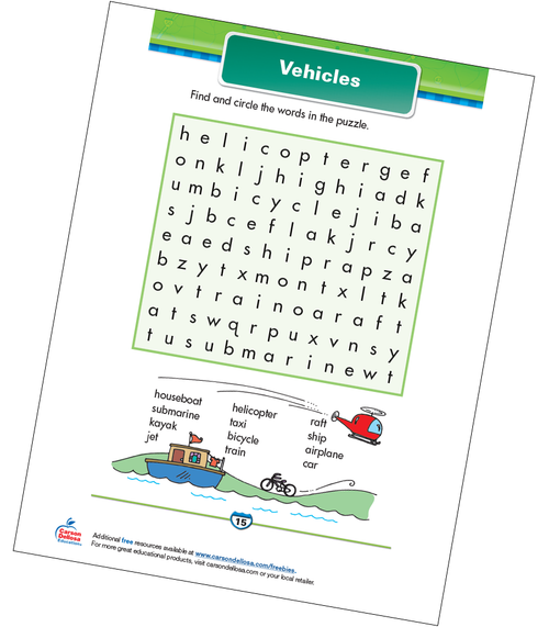Vehicles Free Printable Sample Image